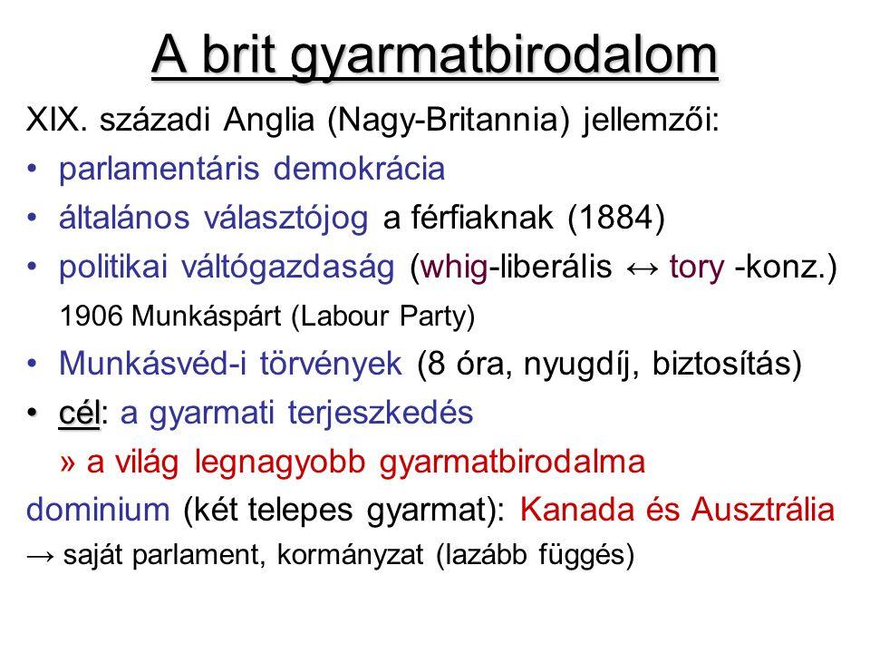 XIX. századi Anglia (Nagy-Britannia) jellemzői: parlamentáris demokrácia általános választójog a férfiaknak (1884) politikai váltógazdaság (whig-liber