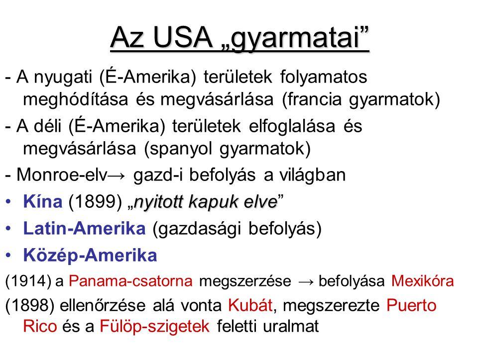 """Az USA """"gyarmatai"""" - A nyugati (É-Amerika) területek folyamatos meghódítása és megvásárlása (francia gyarmatok) - A déli (É-Amerika) területek elfogla"""
