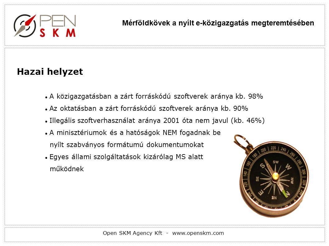 Open SKM Agency Kft - www.openskm.com Hazai helyzet A közigazgatásban a zárt forráskódú szoftverek aránya kb.