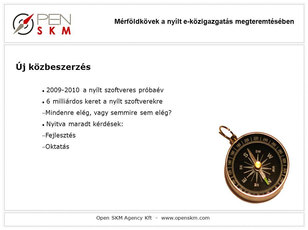 Open SKM Agency Kft - www.openskm.com Új közbeszerzés 2009-2010 a nyílt szoftveres próbaév 6 milliárdos keret a nyílt szoftverekre – Mindenre elég, vagy semmire sem elég.