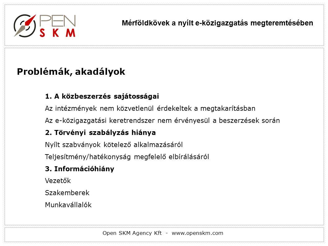 Open SKM Agency Kft - www.openskm.com Problémák, akadályok 1.