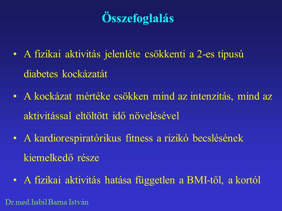 Dr.med.habil Barna István Összefoglalás A fizikai aktivitás jelenléte csökkenti a 2-es típusú diabetes kockázatát A kockázat mértéke csökken mind az intenzitás, mind az aktivitással eltöltött idő növelésével A kardiorespiratórikus fitness a rizikó becslésének kiemelkedő része A fizikai aktivitás hatása független a BMI-től, a kortól