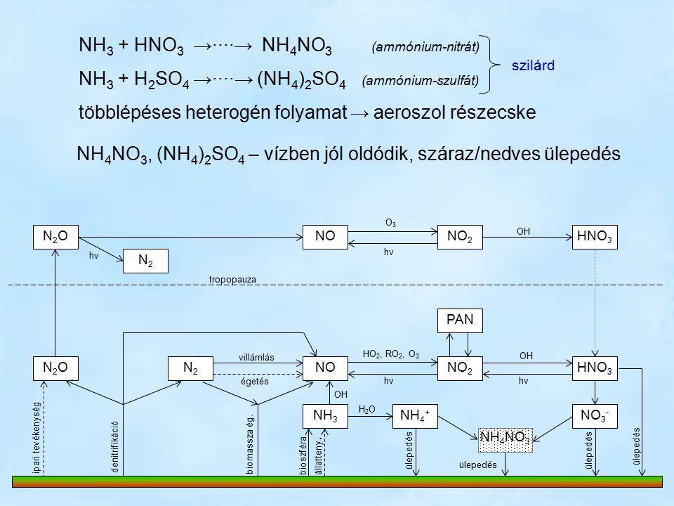 N2ON2ONONO 2 HNO 3 PAN NO 2 NOHNO 3 N2ON2ON2N2 NH 3 N2N2 O3O3 hνhν hνhν OH villámlás égetés HO 2, RO 2, O 3 hνhν OH denitrifikáció ipari tevékenység biomassza ég.