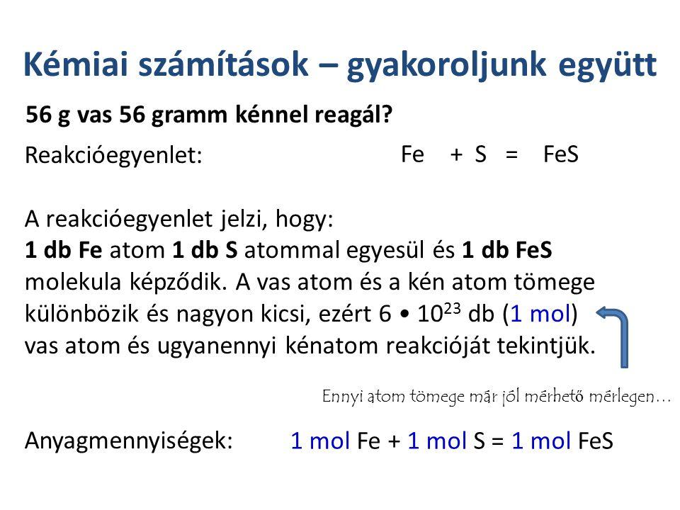 Kémiai számítások – gyakoroljunk együtt Reakcióegyenlet: A reakcióegyenlet jelzi, hogy: 1 db Fe atom 1 db S atommal egyesül és 1 db FeS molekula képződik.