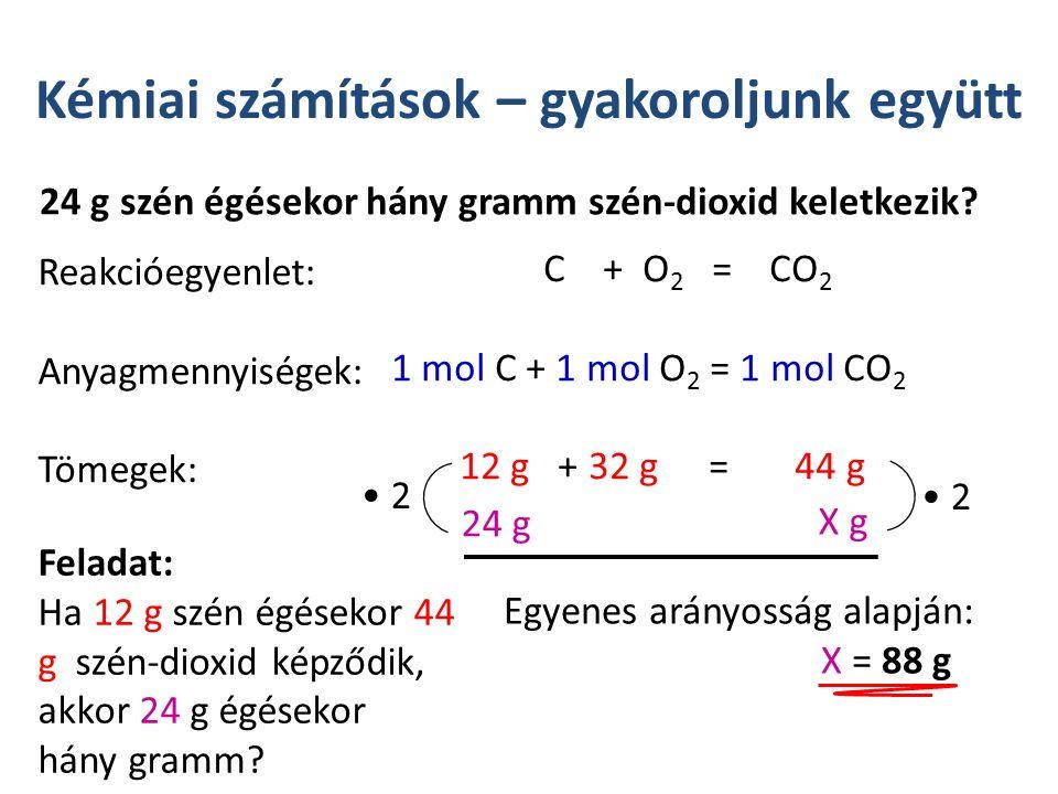 Kémiai számítások – gyakoroljunk együtt 24 g szén égésekor hány gramm szén-dioxid keletkezik.
