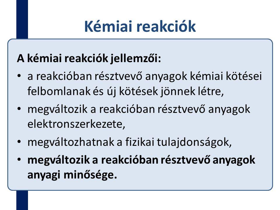 Termokémia A reakciók energiaviszonyaival a TERMOKÉMIA foglalkozik.