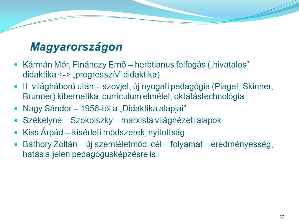 """17 Magyarországon Kármán Mór, Finánczy Ernő – herbtianus felfogás (""""hivatalos didaktika """"progresszív didaktika) II."""