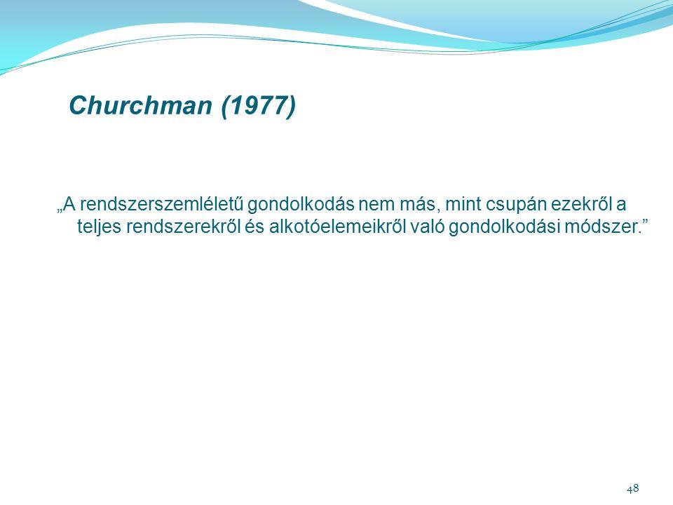 """48 Churchman (1977) """"A rendszerszemléletű gondolkodás nem más, mint csupán ezekről a teljes rendszerekről és alkotóelemeikről való gondolkodási módszer."""