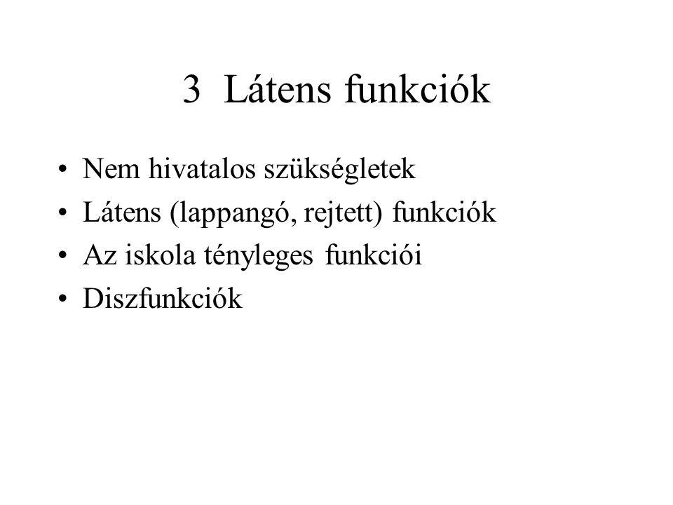 3 Látens funkciók Nem hivatalos szükségletek Látens (lappangó, rejtett) funkciók Az iskola tényleges funkciói Diszfunkciók