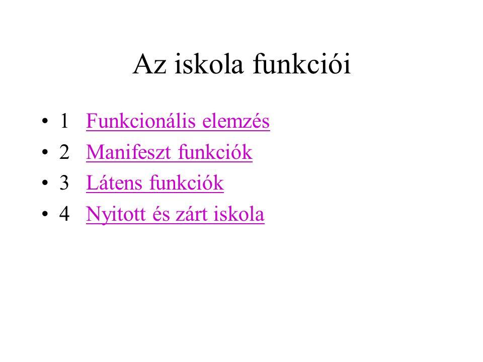 Az iskola funkciói 1 Funkcionális elemzésFunkcionális elemzés 2 Manifeszt funkciókManifeszt funkciók 3 Látens funkciókLátens funkciók 4 Nyitott és zárt iskolaNyitott és zárt iskola