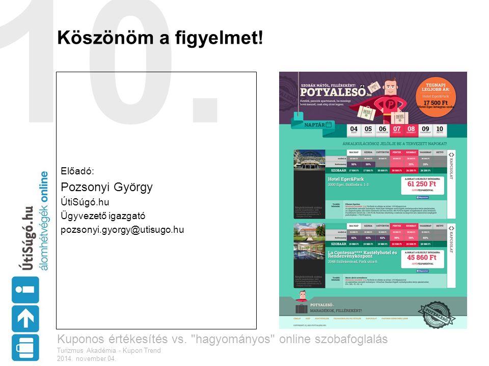 10. Köszönöm a figyelmet! Előadó: Pozsonyi György ÚtiSúgó.hu Ügyvezető igazgató pozsonyi.gyorgy@utisugo.hu Kuponos értékesítés vs.