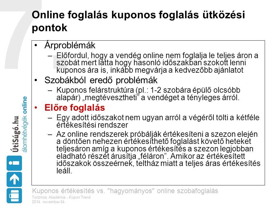 7. Online foglalás kuponos foglalás ütközési pontok Árproblémák –Előfordul, hogy a vendég online nem foglalja le teljes áron a szobát mert látta hogy