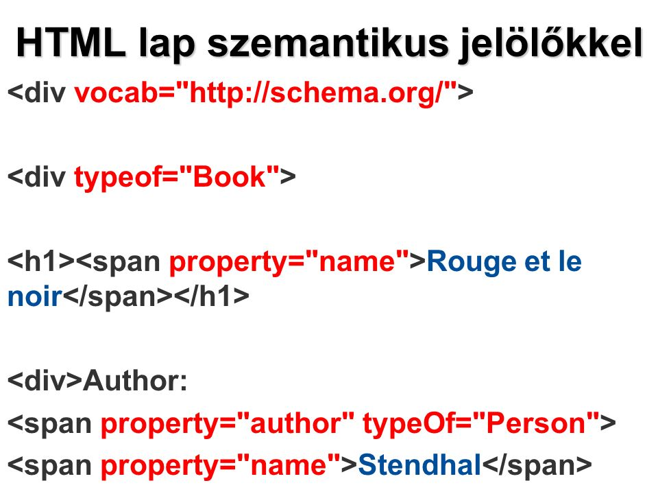 HTML lap szemantikus jelölőkkel Rouge et le noir Author: Stendhal