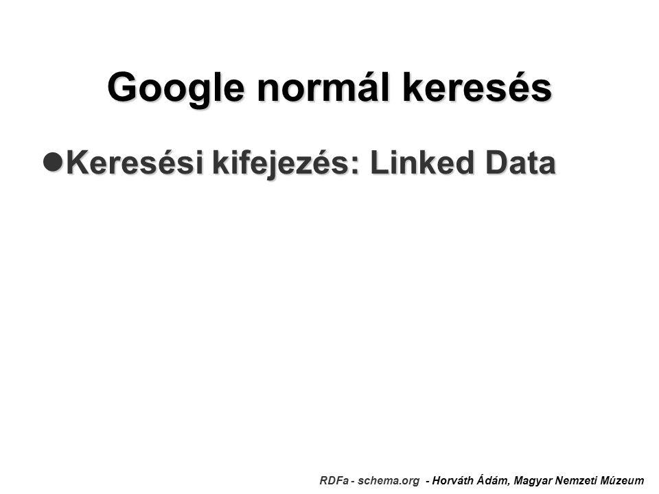 Google normál keresés Keresési kifejezés: Linked Data Keresési kifejezés: Linked Data RDFa - schema.org - Horváth Ádám, Magyar Nemzeti Múzeum