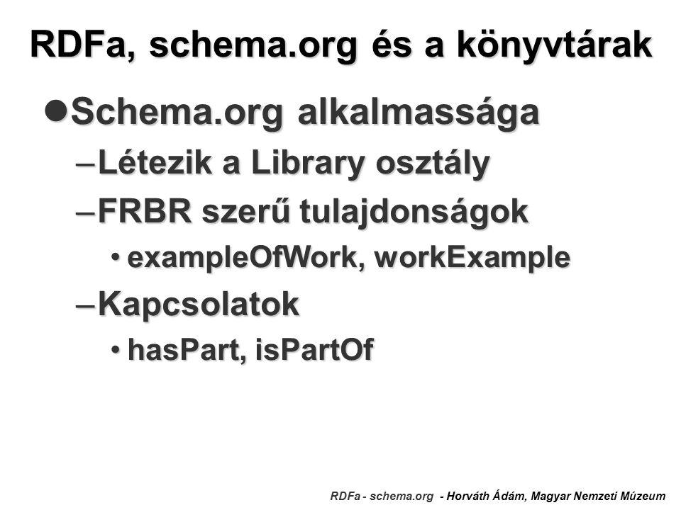RDFa, schema.org és a könyvtárak RDFa - schema.org - Horváth Ádám, Magyar Nemzeti Múzeum Schema.org alkalmassága Schema.org alkalmassága –Létezik a Library osztály –FRBR szerű tulajdonságok exampleOfWork, workExampleexampleOfWork, workExample –Kapcsolatok hasPart, isPartOfhasPart, isPartOf