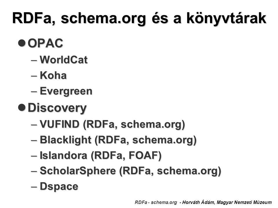 RDFa, schema.org és a könyvtárak RDFa - schema.org - Horváth Ádám, Magyar Nemzeti Múzeum OPAC OPAC –WorldCat –Koha –Evergreen Discovery Discovery –VUFIND (RDFa, schema.org) –Blacklight (RDFa, schema.org) –Islandora (RDFa, FOAF) –ScholarSphere (RDFa, schema.org) –Dspace