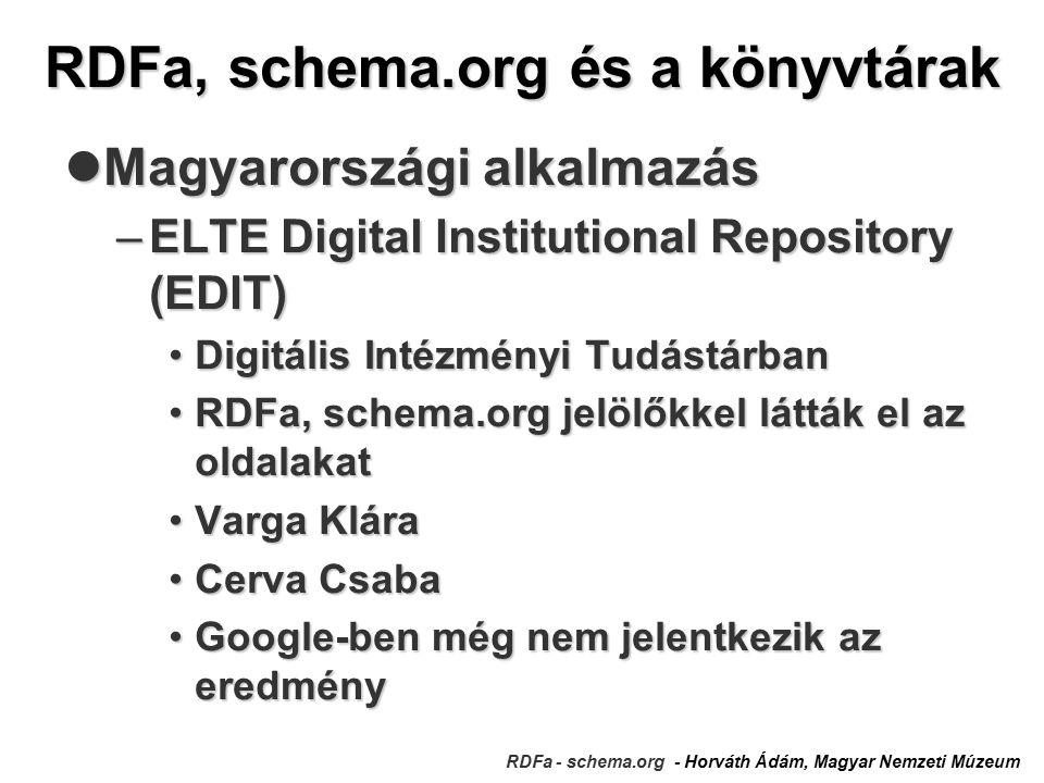 RDFa, schema.org és a könyvtárak RDFa - schema.org - Horváth Ádám, Magyar Nemzeti Múzeum Magyarországi alkalmazás Magyarországi alkalmazás –ELTE Digital Institutional Repository (EDIT) Digitális Intézményi TudástárbanDigitális Intézményi Tudástárban RDFa, schema.org jelölőkkel látták el az oldalakatRDFa, schema.org jelölőkkel látták el az oldalakat Varga KláraVarga Klára Cerva CsabaCerva Csaba Google-ben még nem jelentkezik az eredményGoogle-ben még nem jelentkezik az eredmény