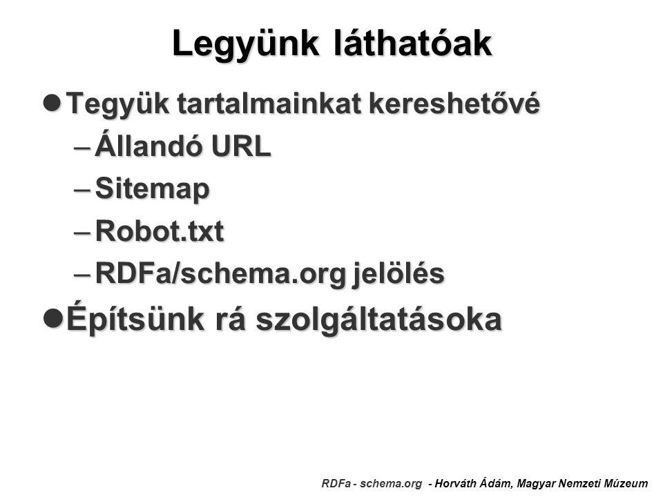 Legyünk láthatóak RDFa - schema.org - Horváth Ádám, Magyar Nemzeti Múzeum Tegyük tartalmainkat kereshetővé Tegyük tartalmainkat kereshetővé –Állandó URL –Sitemap –Robot.txt –RDFa/schema.org jelölés Építsünk rá szolgáltatásoka Építsünk rá szolgáltatásoka