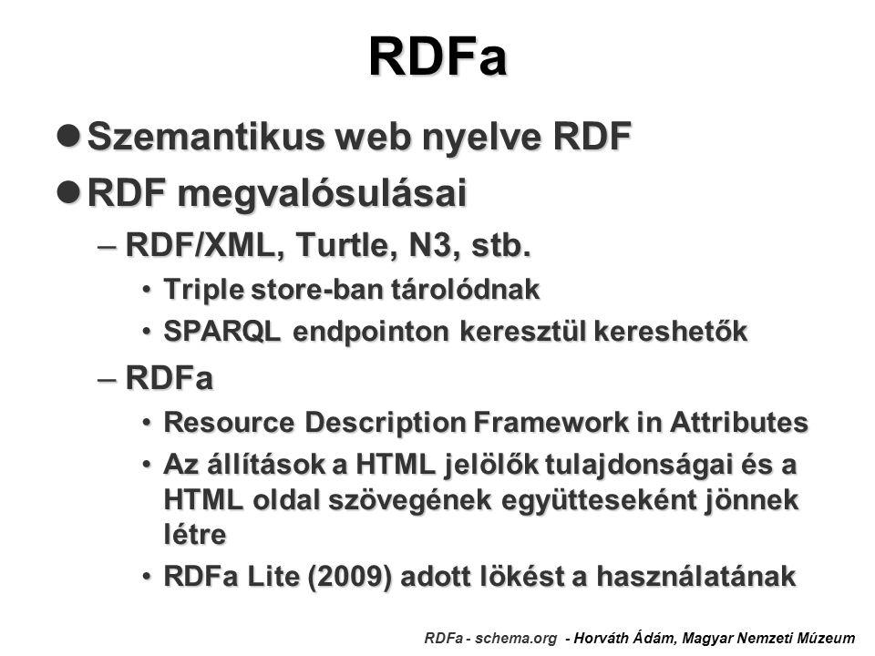 RDFa RDFa - schema.org - Horváth Ádám, Magyar Nemzeti Múzeum Szemantikus web nyelve RDF Szemantikus web nyelve RDF RDF megvalósulásai RDF megvalósulásai –RDF/XML, Turtle, N3, stb.