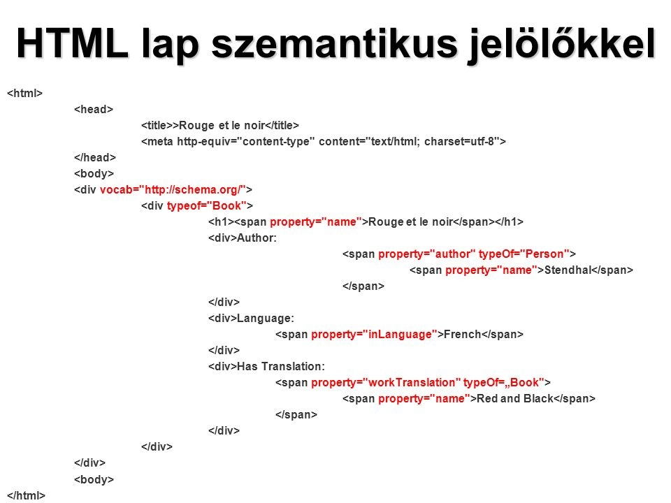 HTML lap szemantikus jelölőkkel >Rouge et le noir Rouge et le noir Author: Stendhal Language: French Has Translation: Red and Black