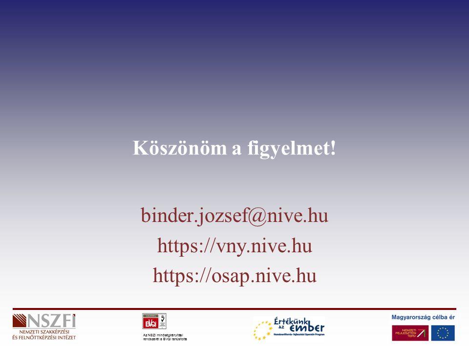 Az NSZI minőségirányítási rendszerét a BVQI tanúsította Köszönöm a figyelmet! binder.jozsef@nive.hu https://vny.nive.hu https://osap.nive.hu