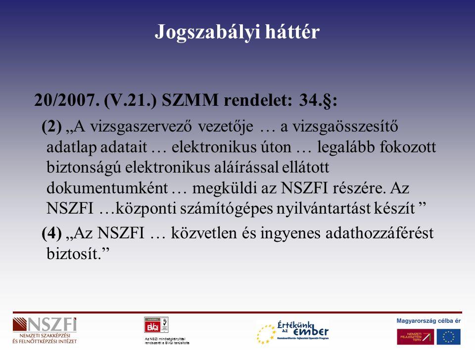 """Az NSZI minőségirányítási rendszerét a BVQI tanúsította Jogszabályi háttér 20/2007. (V.21.) SZMM rendelet: 34.§: (2) """"A vizsgaszervező vezetője … a vi"""