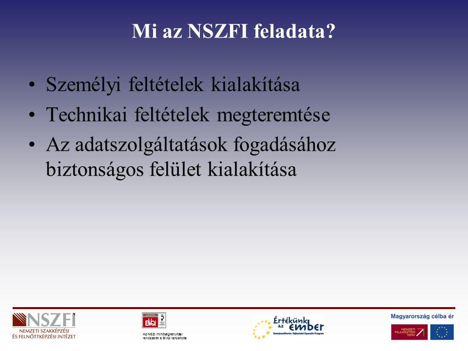 Az NSZI minőségirányítási rendszerét a BVQI tanúsította Mi az NSZFI feladata? Személyi feltételek kialakítása Technikai feltételek megteremtése Az ada