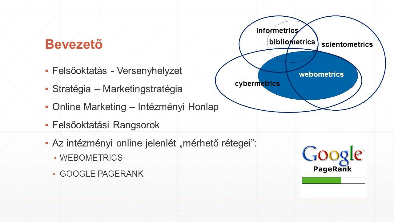 """Bevezető ▪Felsőoktatás - Versenyhelyzet ▪Stratégia – Marketingstratégia ▪Online Marketing – Intézményi Honlap ▪Felsőoktatási Rangsorok ▪Az intézményi online jelenlét """"mérhető rétegei : ▪WEBOMETRICS ▪GOOGLE PAGERANK"""