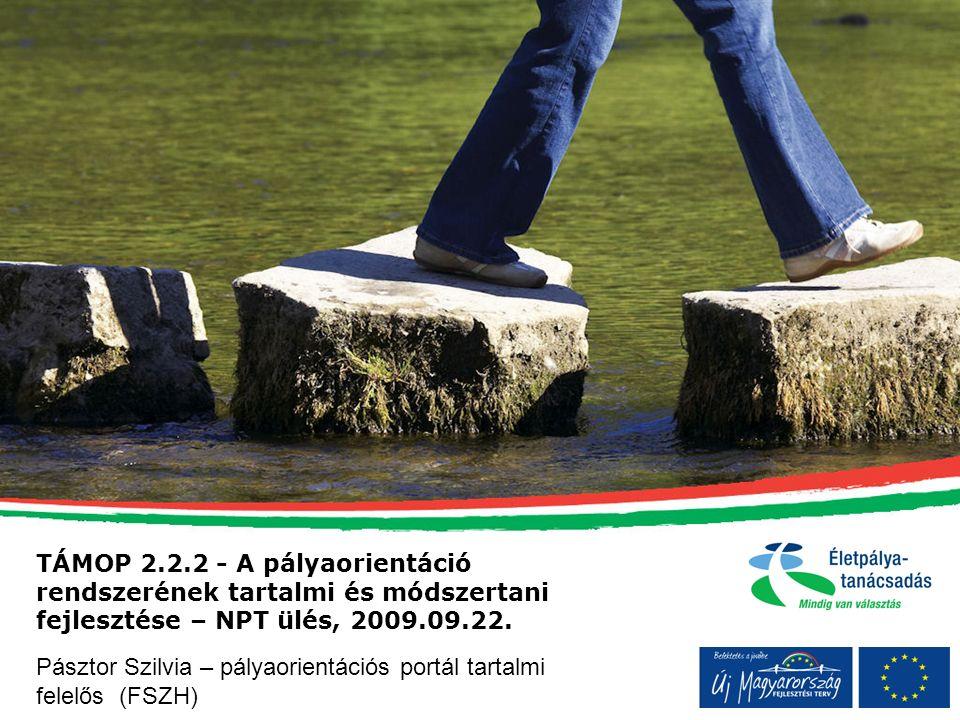 TÁMOP 2.2.2 - A pályaorientáció rendszerének tartalmi és módszertani fejlesztése – NPT ülés, 2009.09.22.