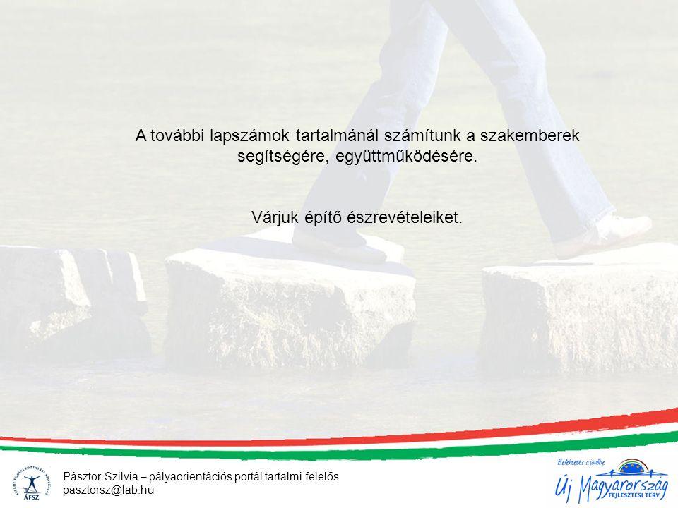 Pásztor Szilvia – pályaorientációs portál tartalmi felelős pasztorsz@lab.hu A további lapszámok tartalmánál számítunk a szakemberek segítségére, együttműködésére.