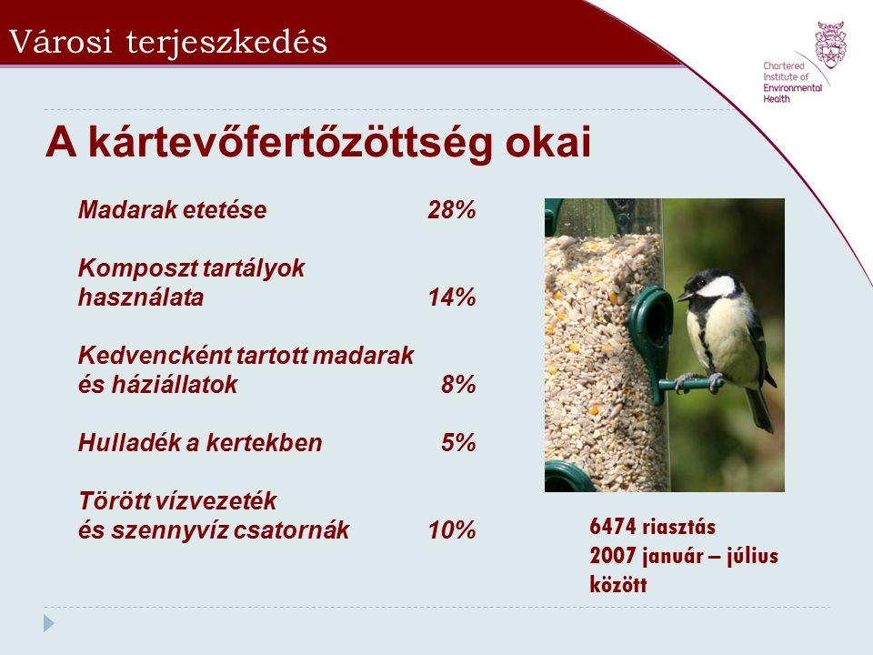 Városi terjeszkedés Madarak etetése 28% Komposzt tartályok használata 14% Kedvencként tartott madarak és háziállatok 8% Hulladék a kertekben 5% Törött