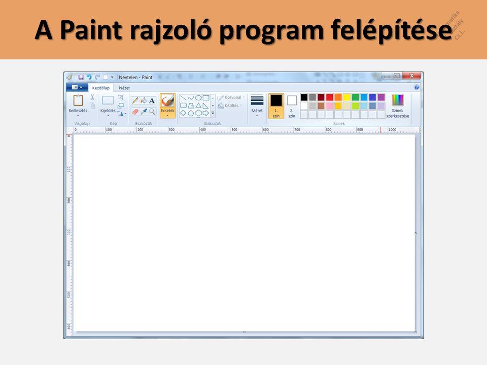 Informatika 5. osztály Cs.L. A Paint rajzoló program felépítése