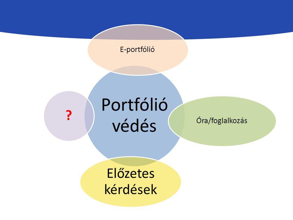 Portfólió védés E-portfólióÓra/foglalkozás Előzetes kérdések