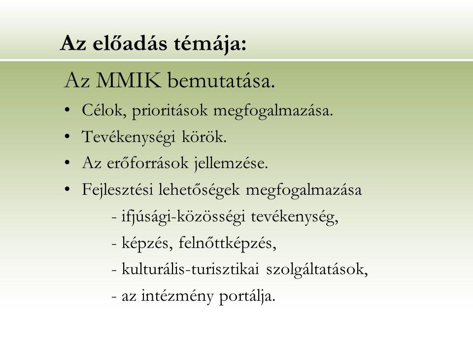 Az előadás témája:.Az MMIK bemutatása. Célok, prioritások megfogalmazása.