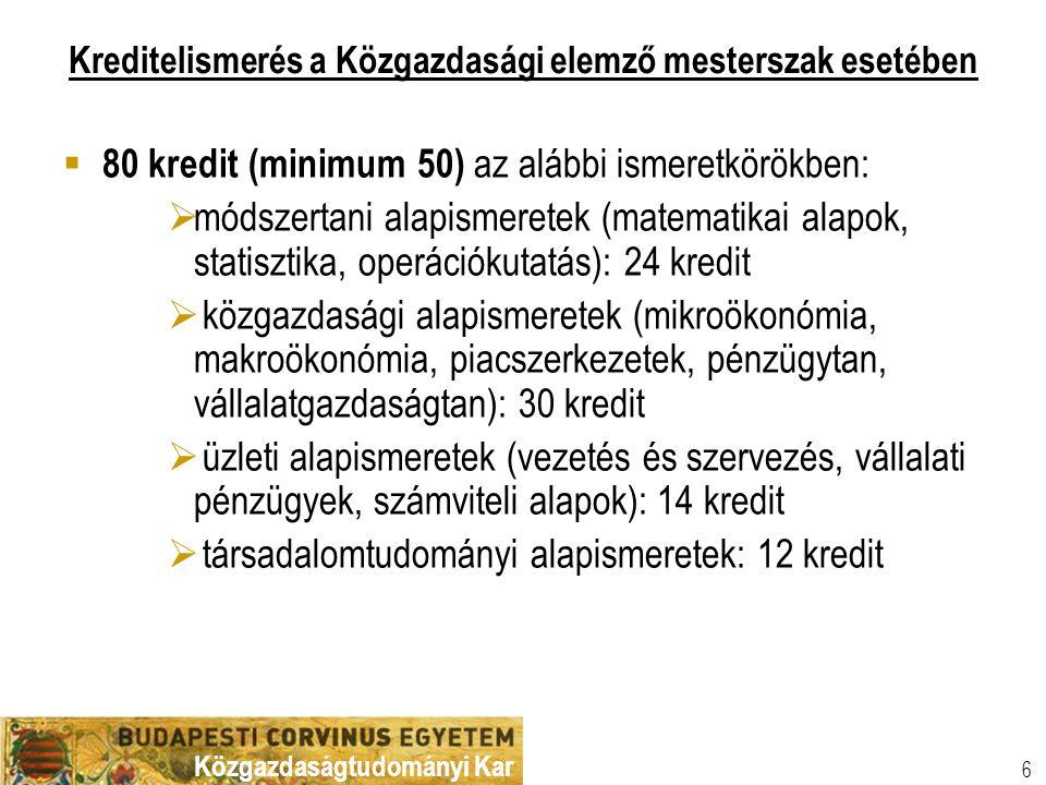 Közgazdaságtudományi Kar 6 Kreditelismerés a Közgazdasági elemző mesterszak esetében  80 kredit (minimum 50) az alábbi ismeretkörökben:  módszertani alapismeretek (matematikai alapok, statisztika, operációkutatás): 24 kredit  közgazdasági alapismeretek (mikroökonómia, makroökonómia, piacszerkezetek, pénzügytan, vállalatgazdaságtan): 30 kredit  üzleti alapismeretek (vezetés és szervezés, vállalati pénzügyek, számviteli alapok): 14 kredit  társadalomtudományi alapismeretek: 12 kredit