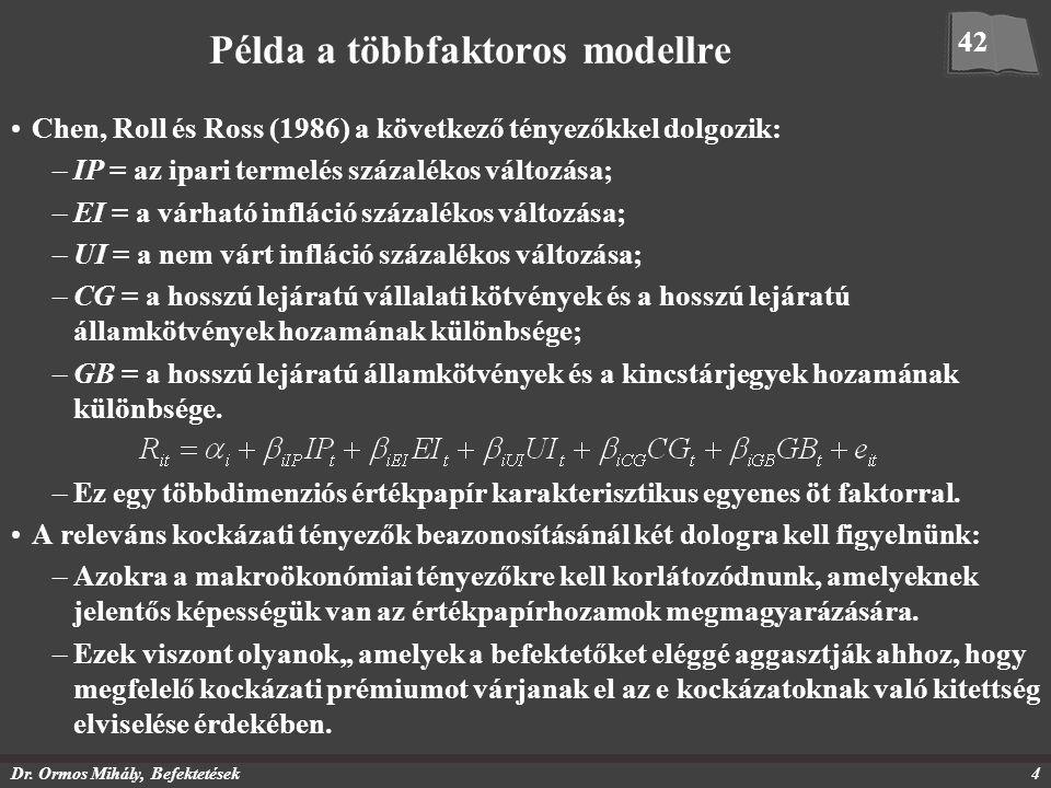 Dr. Ormos Mihály, Befektetések4 Példa a többfaktoros modellre Chen, Roll és Ross (1986) a következő tényezőkkel dolgozik: –IP = az ipari termelés száz