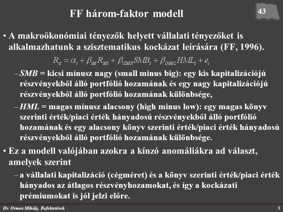 Dr. Ormos Mihály, Befektetések5 FF három-faktor modell A makroökonómiai tényezők helyett vállalati tényezőket is alkalmazhatunk a szisztematikus kocká