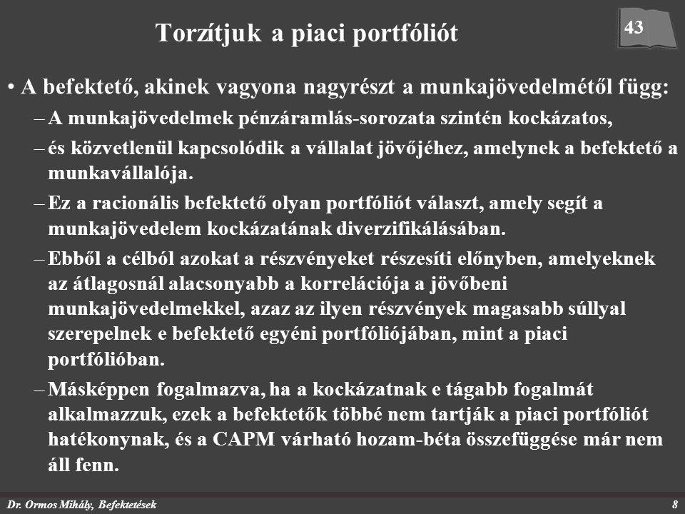 Dr. Ormos Mihály, Befektetések8 Torzítjuk a piaci portfóliót A befektető, akinek vagyona nagyrészt a munkajövedelmétől függ: –A munkajövedelmek pénzár