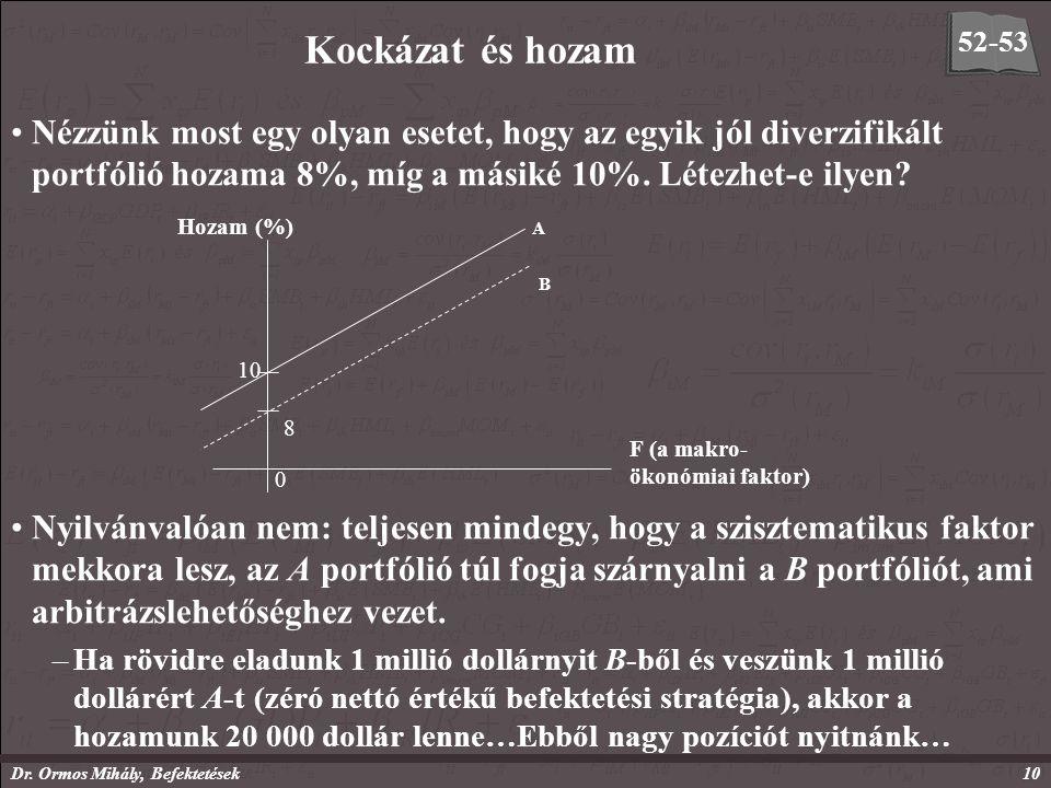 Dr. Ormos Mihály, Befektetések10 Kockázat és hozam Nézzünk most egy olyan esetet, hogy az egyik jól diverzifikált portfólió hozama 8%, míg a másiké 10