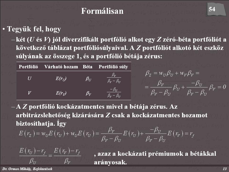 Dr. Ormos Mihály, Befektetések13 Formálisan Tegyük fel, hogy –két (U és V) jól diverzifikált portfólió alkot egy Z zéró-béta portfóliót a következő tá