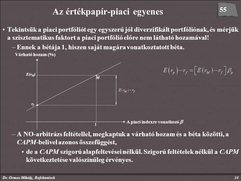 Dr. Ormos Mihály, Befektetések14 Az értékpapír-piaci egyenes Tekintsük a piaci portfóliót egy egyszerű jól diverzifikált portfóliónak, és mérjük a szi