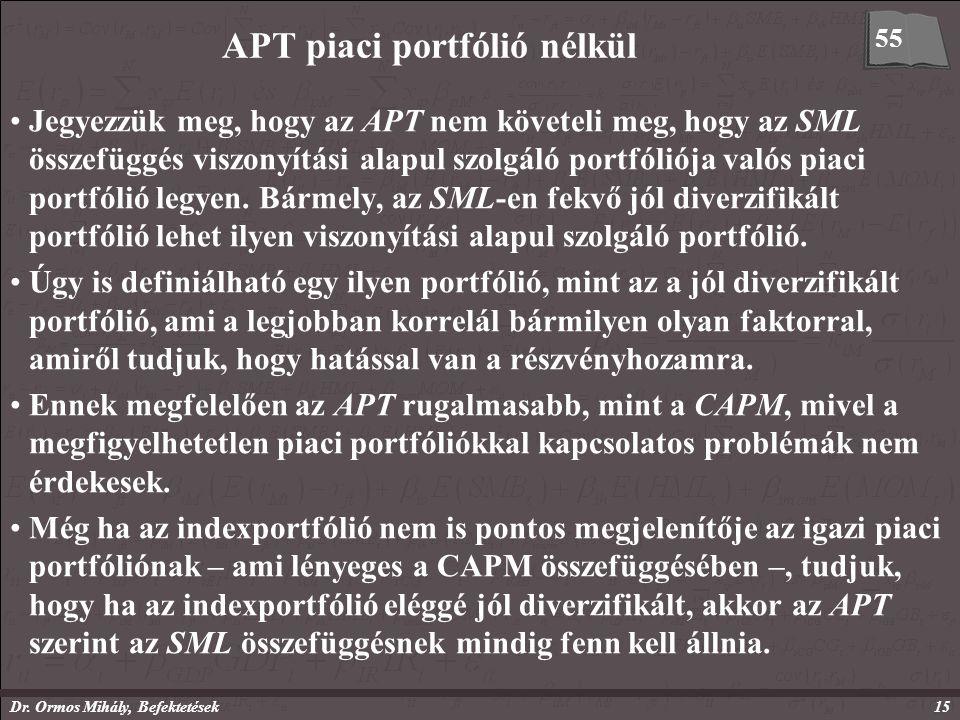 Dr. Ormos Mihály, Befektetések15 APT piaci portfólió nélkül Jegyezzük meg, hogy az APT nem követeli meg, hogy az SML összefüggés viszonyítási alapul s