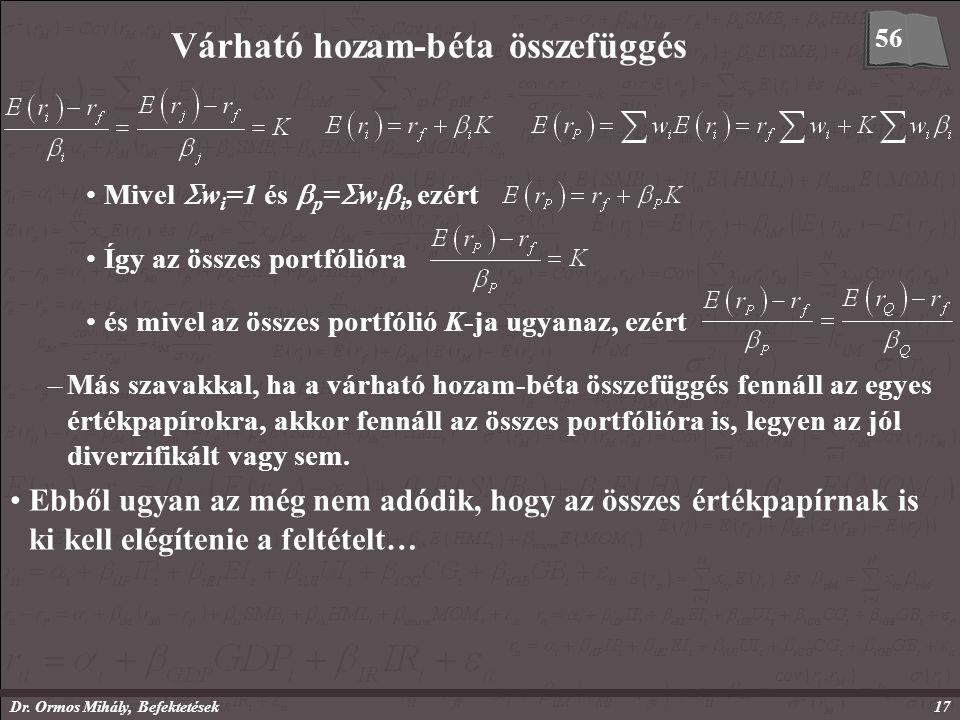 Dr. Ormos Mihály, Befektetések17 Várható hozam-béta összefüggés Mivel  w i =1 és  p =  w i  i, ezért Így az összes portfólióra és mivel az összes