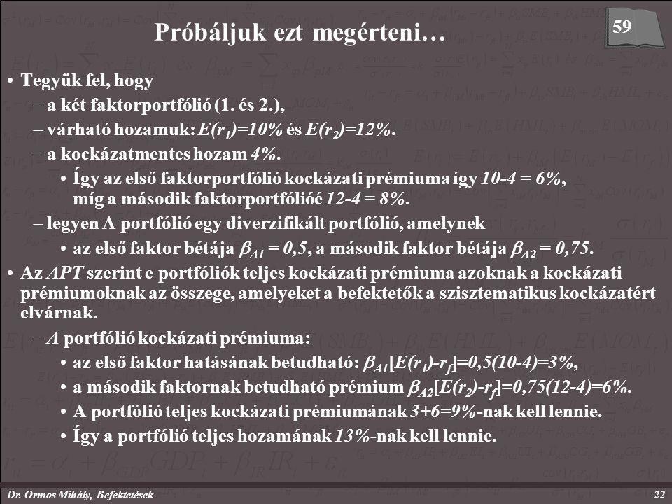 Dr. Ormos Mihály, Befektetések22 Próbáljuk ezt megérteni… Tegyük fel, hogy –a két faktorportfólió (1. és 2.), –várható hozamuk: E(r 1 )=10% és E(r 2 )