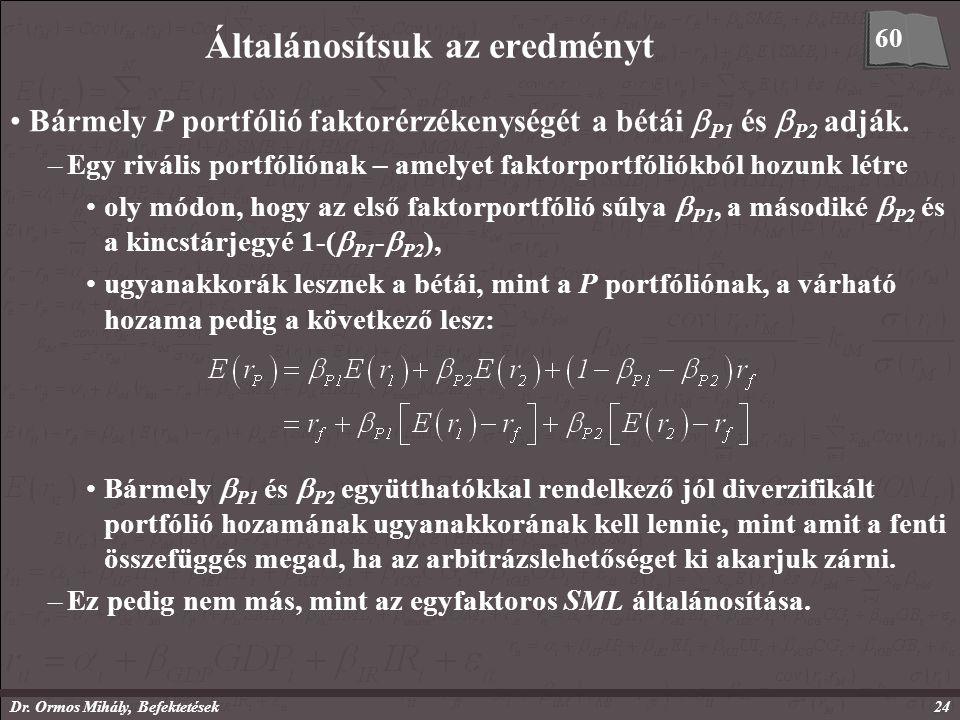 Dr. Ormos Mihály, Befektetések24 Általánosítsuk az eredményt Bármely P portfólió faktorérzékenységét a bétái  P1 és  P2 adják. –Egy rivális portfóli