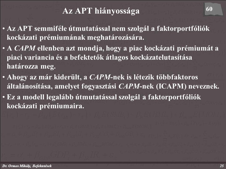 Dr. Ormos Mihály, Befektetések25 Az APT hiányossága Az APT semmiféle útmutatással nem szolgál a faktorportfóliók kockázati prémiumának meghatározására