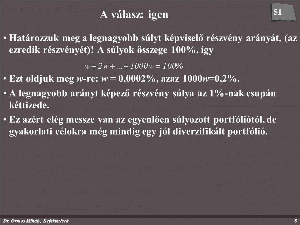 Dr. Ormos Mihály, Befektetések8 A válasz: igen Határozzuk meg a legnagyobb súlyt képviselő részvény arányát, (az ezredik részvényét)! A súlyok összege