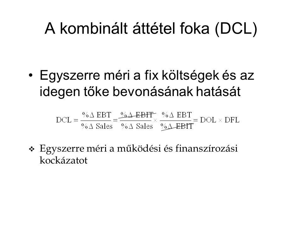 A kombinált áttétel foka (DCL) Egyszerre méri a fix költségek és az idegen tőke bevonásának hatását v Egyszerre méri a működési és finanszírozási kockázatot