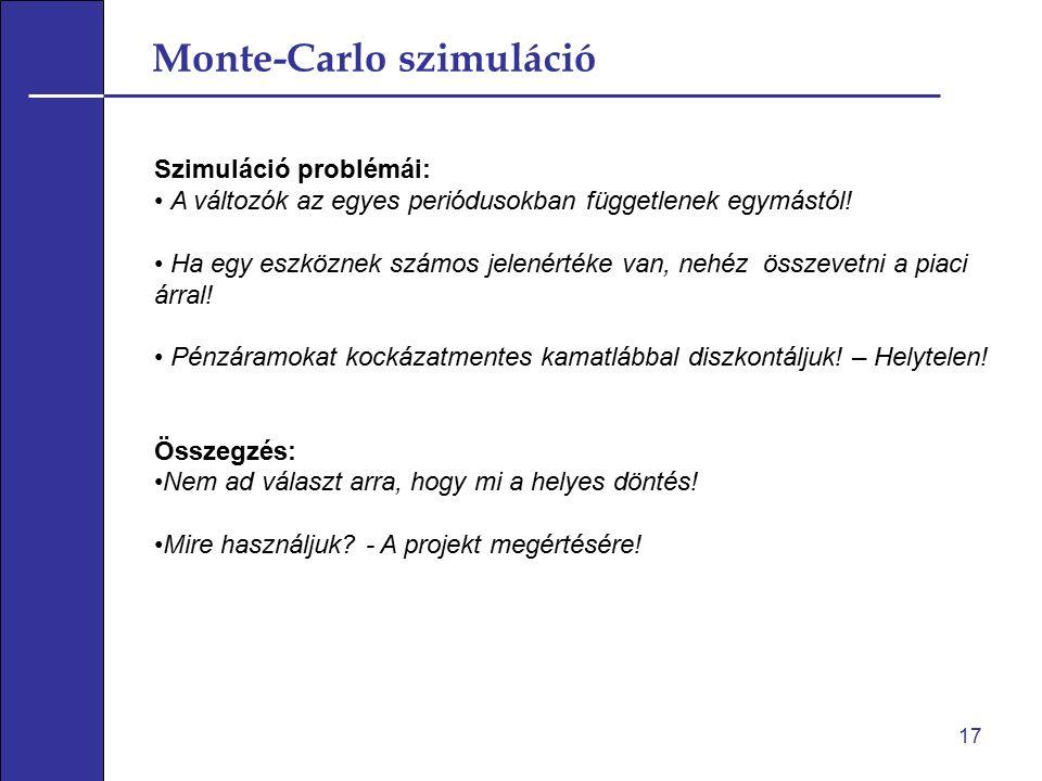 Monte-Carlo szimuláció 17 Szimuláció problémái: A változók az egyes periódusokban függetlenek egymástól! Ha egy eszköznek számos jelenértéke van, nehé