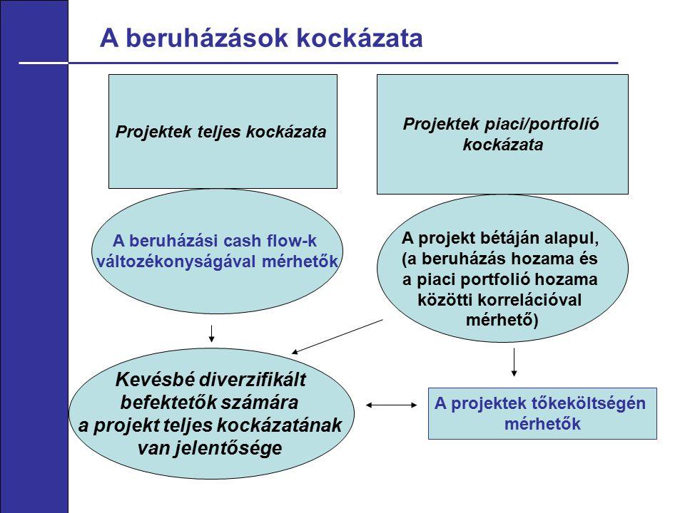 A beruházások kockázata Projektek teljes kockázata Projektek piaci/portfolió kockázata A beruházási cash flow-k változékonyságával mérhetők A projekt bétáján alapul, (a beruházás hozama és a piaci portfolió hozama közötti korrelációval mérhető) A projektek tőkeköltségén mérhetők Kevésbé diverzifikált befektetők számára a projekt teljes kockázatának van jelentősége